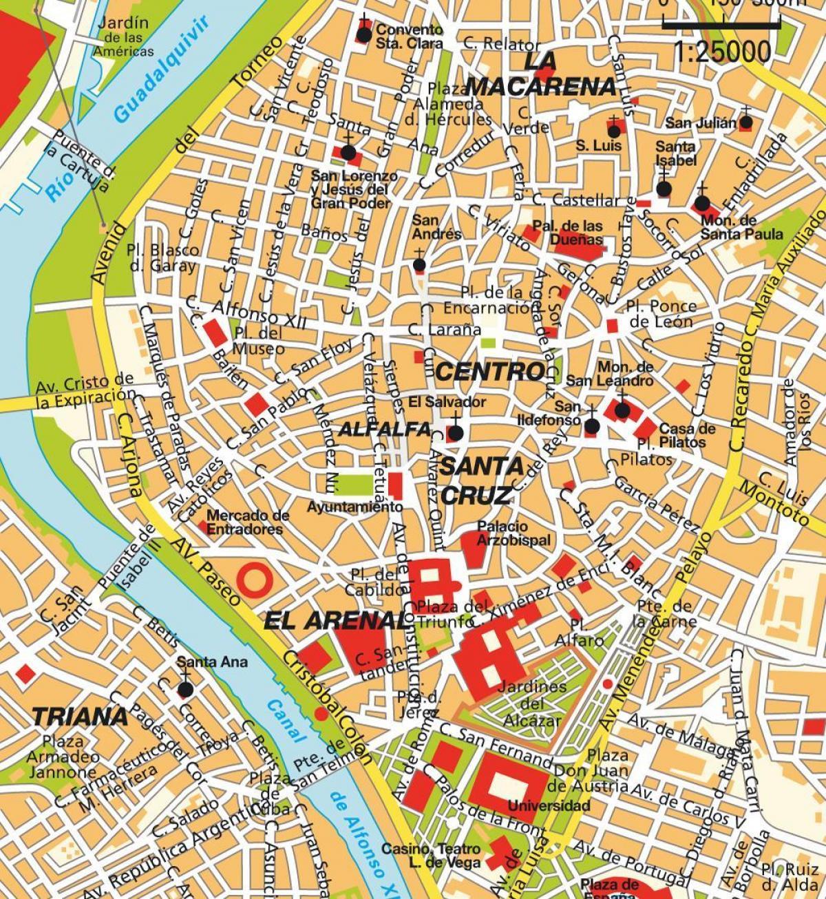 Cartina Siviglia Spagna.Mappa Di Centro Di Siviglia Mappa Di Siviglia In Spagna Centro Citta Andalusia Spagna