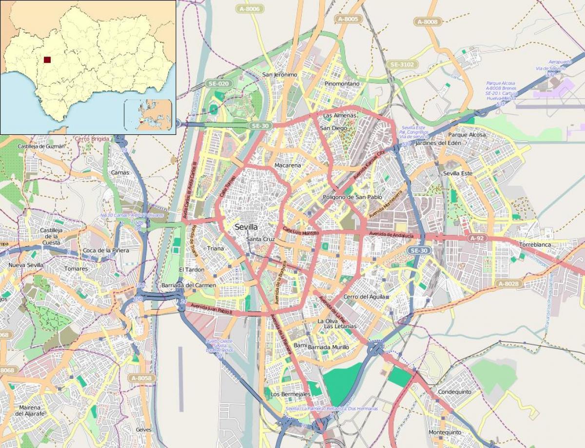 Cartina Siviglia Spagna.Mappa Di Siviglia In Spagna Quartieri Mappa Di Siviglia In Spagna Quartieri Andalusia Spagna