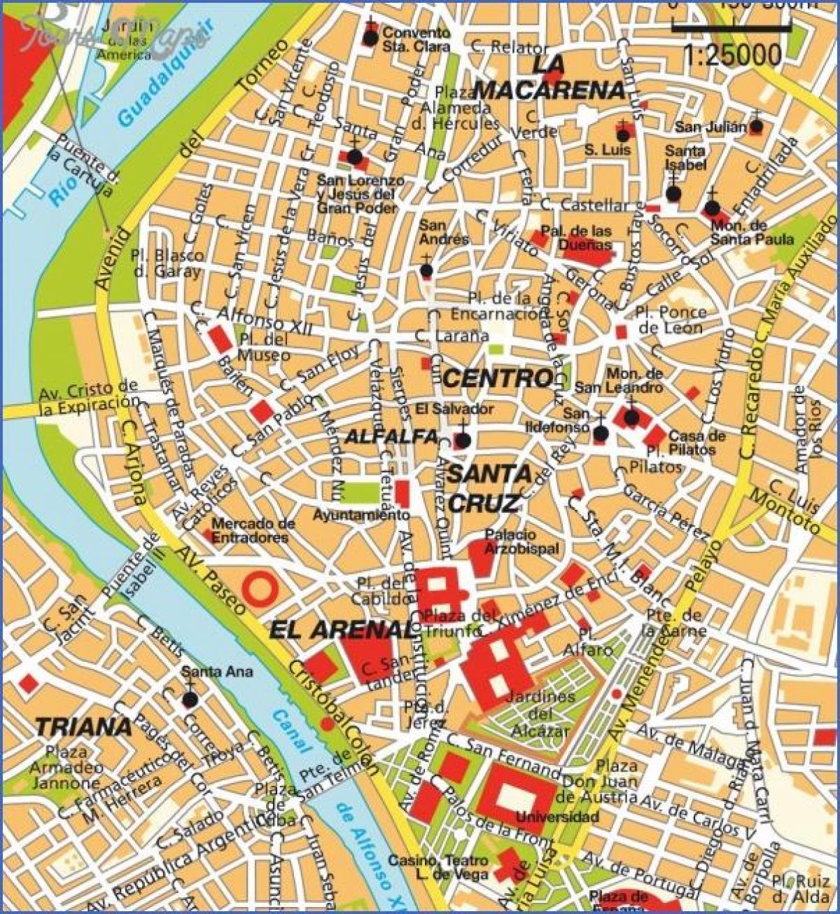 Siviglia Cartina.Siviglia Mappa Turistica Siviglia Attrazioni Mappa Andalusia Spagna